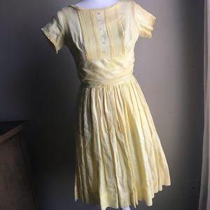 VINTAGE Wendy Woods 1950s yellow dress rockabilly